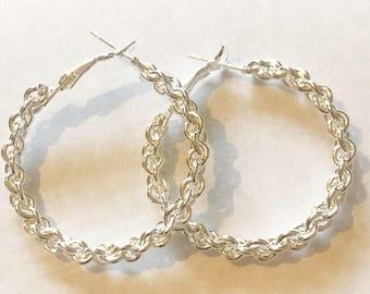 Unusual Chain Hooped Silver Earrings