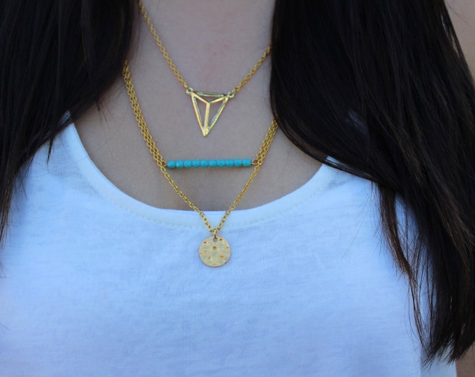 Gold and Turquoise Layered Necklace, Collaboration piece with The Ginger Next Door.