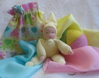 Waldorf Pocket Doll, Waldorf Gnome Doll, Small Dolls, 6 inch Doll, Travel Toys, Toddler Doll,Waldorf Toys, Felt Balls, Play Silks