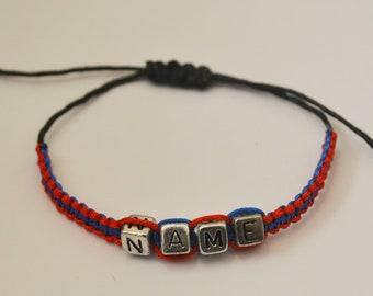 Adjustable Personalised name bracelet, friendship bracelet, party favor gifts