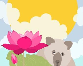 Bear lotus illustration art for nursery - The seeker - Nursery Art,Children Decor,whimsical Wall Decor,Art for Kids,Kid's Art,colorful art