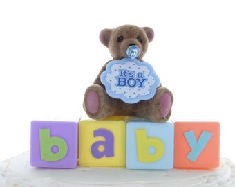 It's A Boy Bear Cake Topper/ Baby Shower Cake Topper
