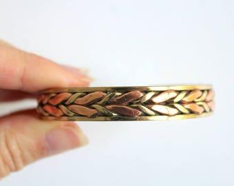 Vintage Bracelet, Brass Cuff Bracelet, Cuff Bracelet, Brass Bracelet, Brass & Copper Bracelet, Leaf Bracelet, Leaf Pattern Bracelet, Gift