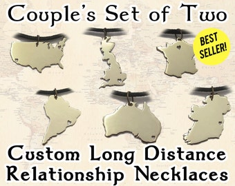 Long Distance Relationship Necklaces – Couple Necklace Set with 2 Country Necklaces Featuring Cutout Hearts, Cute Anniversary Gift for Him