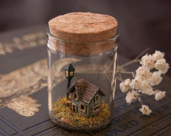 Miniature diorama in a bottle * old cottage house * ooak by Nika
