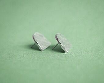HALF MOON stud earrings -sterling silver or bronze