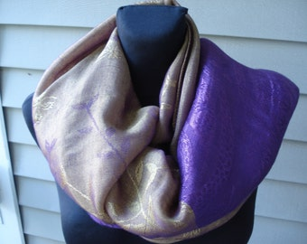 FINAL SALE Vintage Purple and Gold Long Scarf Shawl Spain