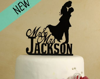 Mr and Mrs Wedding Cake Topper with Silhouette couple personalized with your last name. (Style D-2)