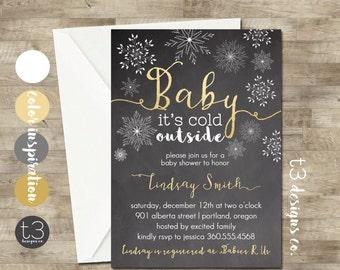 Christmas or Winter Baby Shower Invitation, Baby Shower Invitation, Winter baby shower, snowflake baby shower, gold,  chalkboard, neutral