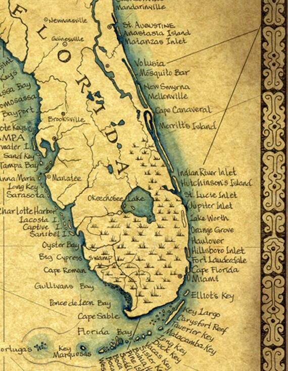 Florida Map Art Print c 1865 11 x 14 Hand Drawn
