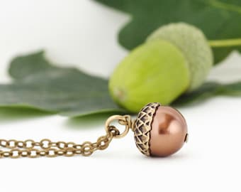 Mother Gift - Mothers Day Gift - Gift For Women - Woodland Acorn Necklace Bronze Fall Accessory Makes Rustic