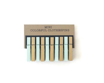 Mini Clothespins. Mint and Metallic Gold. Set of Ten (10). Mint Clothespins. Gold Clothespins. Wedding Decor. Bridal Shower. Baby Shower.