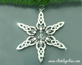 Irish Shamrock & Claddagh SnowWonders® Snowflake Ornament, Irish Ornament, Shamrock ornament, Claddagh Ormanment, Christmas