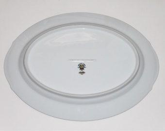 "Noritake Fairmont Platinum Trim 6102 13"" Serving Platter w/ Handles Pink Roses"
