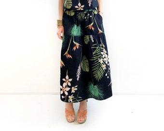 Black and Green Leaf Print Maxi Skirt, Maxi Summer Skirt, Black Maxi Skirt, Monstera Skirt, Long Skirts, Sizes XS,S,M,M+,L