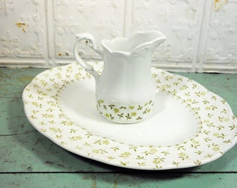 J & G Meakin Ironstone Green Forget-Me-Not Platter and  Cream Pitcher, English Ironstone Sterling