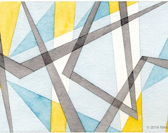"Yellow Grey Blue Triangles and Lines: 6""x9"" abstract watercolor painting on paper modern contemporary geometric home decor art"