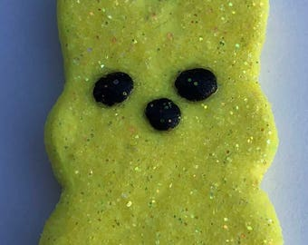 Easter Peep Glitter Polymer Clay Yellow Charm