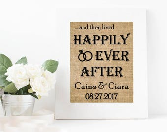 Burlap wedding - Happily Ever After Sign, Personalized Bridal Shower, Wedding Gift for couple, Happily Ever After Burlap Print -1J