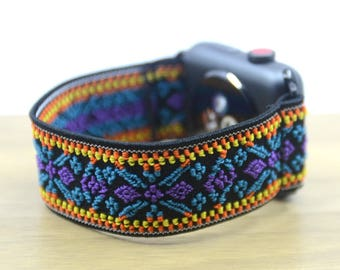 Tefeca Blue Embroidery Ethnic Pattern Stretch Elastic Apple Watch Band 38mm 42mm - EBEE