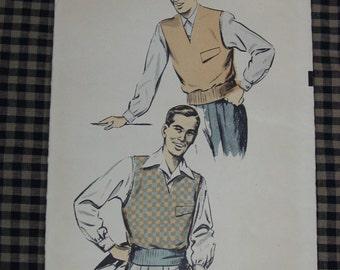 Vintage Pattern c.1950's Advance No.5725 Men's Reversible Vest, Size Medium 38-40