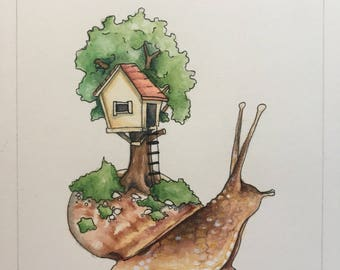 Tree House Snail Print