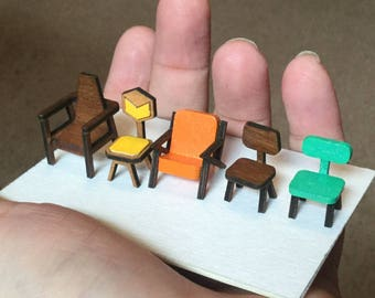1:48 Chair KIT- Quarter Scale 1/4 Mid Century Modern Miniature Furniture