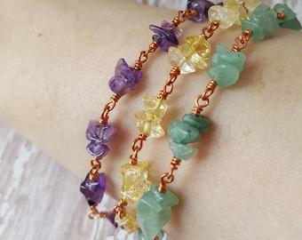 Genuine Amethyst - Citrine - Green Aventurine - Copper Wire Wrapped  - Colorful Boho - Multi Strand - Multi Gemstone - Natural Jewelry