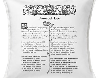 Annabel Lee by Edgar Allan Poe Pillow Cover, Book pillow cover.