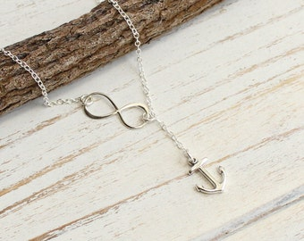 Sterling Silver Infinity Anchor Lariat Necklace