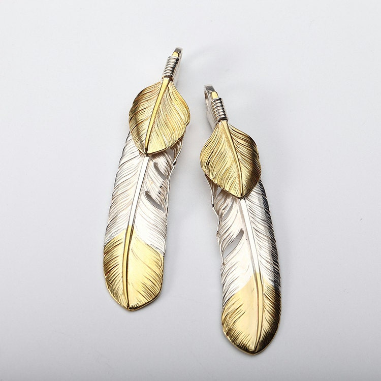Silver Feather Pendant Native American Inspired Double Feather