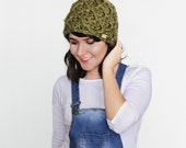 Warm Winter Crochet Hat - Textured Chunky Beanie - Woman's Accessories - Geometrical Winter Hat in Olive | The Triton Hat |