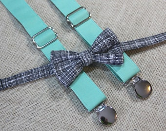Black Crosshatch Bow Tie and Solid Mint Suspenders set ( Men, boys, baby, toddler, infant Suspender and Bowtie ) outfit
