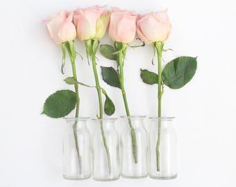 GLASS BOTTLES, Vintage, Clear Glass Bottles with Tops, Set of 4, Repurposed Vases, Spice Bottles