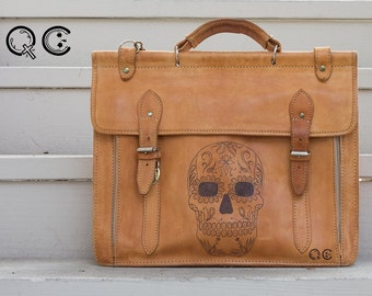 Leather Messenger Portfolio with Skull Design on side. -  Día de los Muertos - Day of the Dead