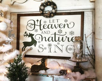 Christmas Sign | Let Heaven and Nature Sing | Christian Sign | Rustic Sign