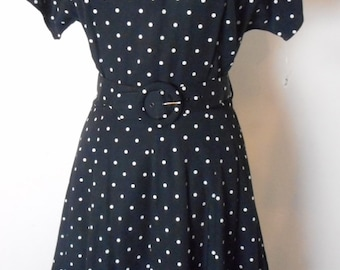 Vintage 1980s PAQUETTE TOO! Black/White Polka Dot Belted Dress Size 8