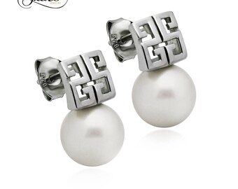 925 Sterling Silver Earrings, Pattern Pearl Earrings, Classic Simulated Shell Pearl Stud Earrings