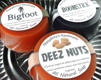 PICK ANY 3 Men's Shave Soap & Beard Wash, Three Men's Natural Soaps with Argan Oil, Shampoo Round Puck, Man Soap, Variety Pack Sampler