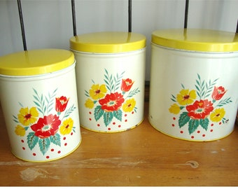Vintage Kitchen Canister Set of 3  1950's Wilendur Style Gorgeous!