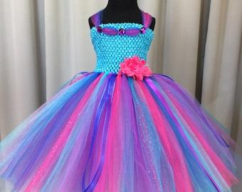 Bright multi-color princess dress, turquoise, royal blue, purple & fuchsia tulle tutu dress, birthday tutu dress, princess tutu dress