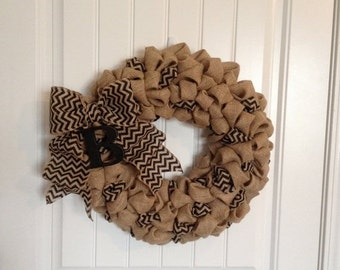 "18"" Chevron Burlap Wreath with Initial.  Bubble Burlap Wreath. Monogram Wreath.  Custom Monogram. Custom Initial"