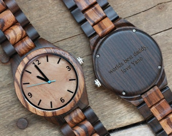 Groomsmen Watches, Engraved Wood Watch, Mens Wooden Watch, Wood Watches for Men, Groomsmen Watchess for Dad, Engraved Graduation gift