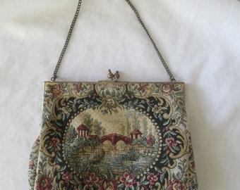 Antique Vintage Tapestry Evening Purse