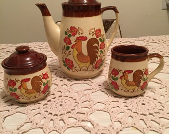 Rooster Tea Pot, Cup and Sugar bowl