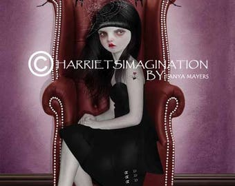 Creepy lolita and spiders art print | Spider wall decor | Creepy cute art | Goth girl print