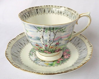 Vintage Royal Albert, Bone China England, ''Silver Birch'' Porcelain Big Cup and Saucer