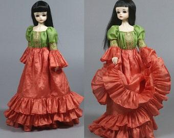Pink&Green 1/4 BJD Romantic/Medieval/Gypsy/Boho Dress Outfit, fits Iplehouse, Soom, Minifee, Unoa, etc.