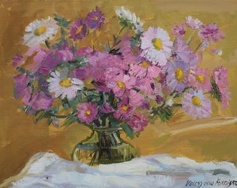 Oil painting Buoquet of flowers Oridjinal oil painting Lilac pink flowers Still life chrysanthemums Wall Art Gift for her Small artwork