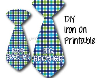 Sibling Iron On Transfers Big Brother Little Brother Ties set of 2 Boys Tie Blue Plaid Tie Printable INSTANT DOWNLOAD Baby Toddler Shirt 006